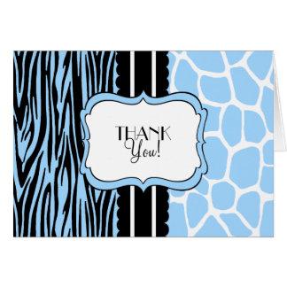 Zebra e Girafa-Obrigado azuis você Cartão De Nota