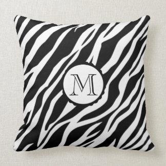 Zebra feita sob encomenda branca preta do travesseiro