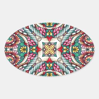 Zen-doodle colorido adesivo oval