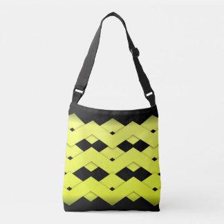 Ziguezague amarelo no preto bolsas carteiro
