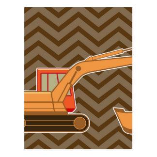 Ziguezague Chevron - Brown do Backhoe do Cartão Postal