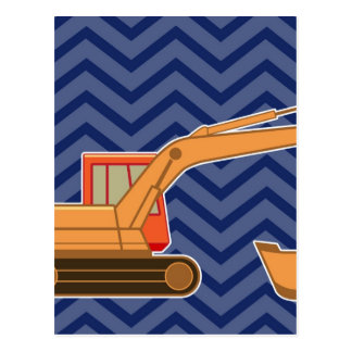 Ziguezague Chevron do Backhoe do transporte - azul Cartão Postal