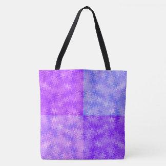 Ziguezague e teste padrão azuis roxos das bolhas bolsas tote