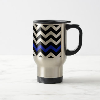 Ziguezague preto e branco clássico com azul caneca térmica