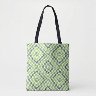 Ziguezague verde bolsas tote