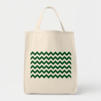 Ziguezague verde e branco bolsa tote