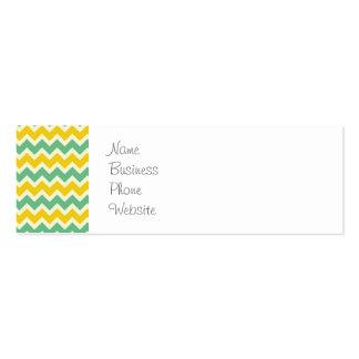 Ziguezagues do verde amarelo de Chevron do citrino Cartão De Visita Skinny