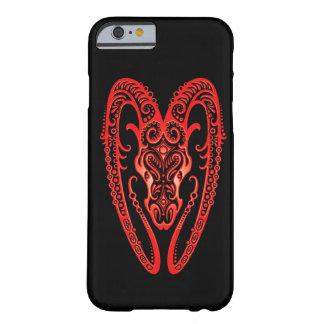 Zodíaco vermelho intrincado do Aries no preto Capa iPhone 6 Barely There