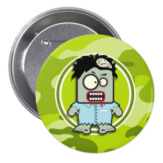 Zombi engraçado camo verde-claro camuflagem botons