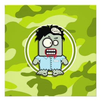 Zombi engraçado camo verde-claro camuflagem convite personalizados