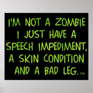 Zombi engraçado não um verde do zombi impressão